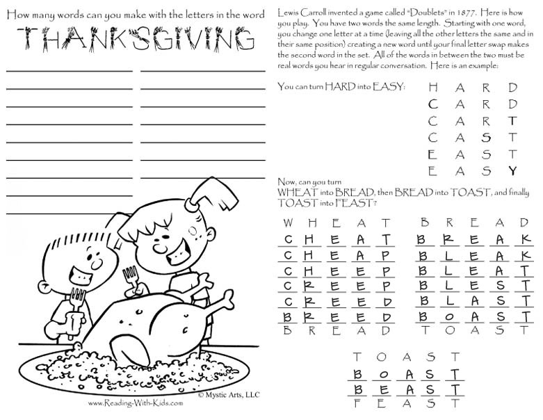 Turkey Placemat Answer Key