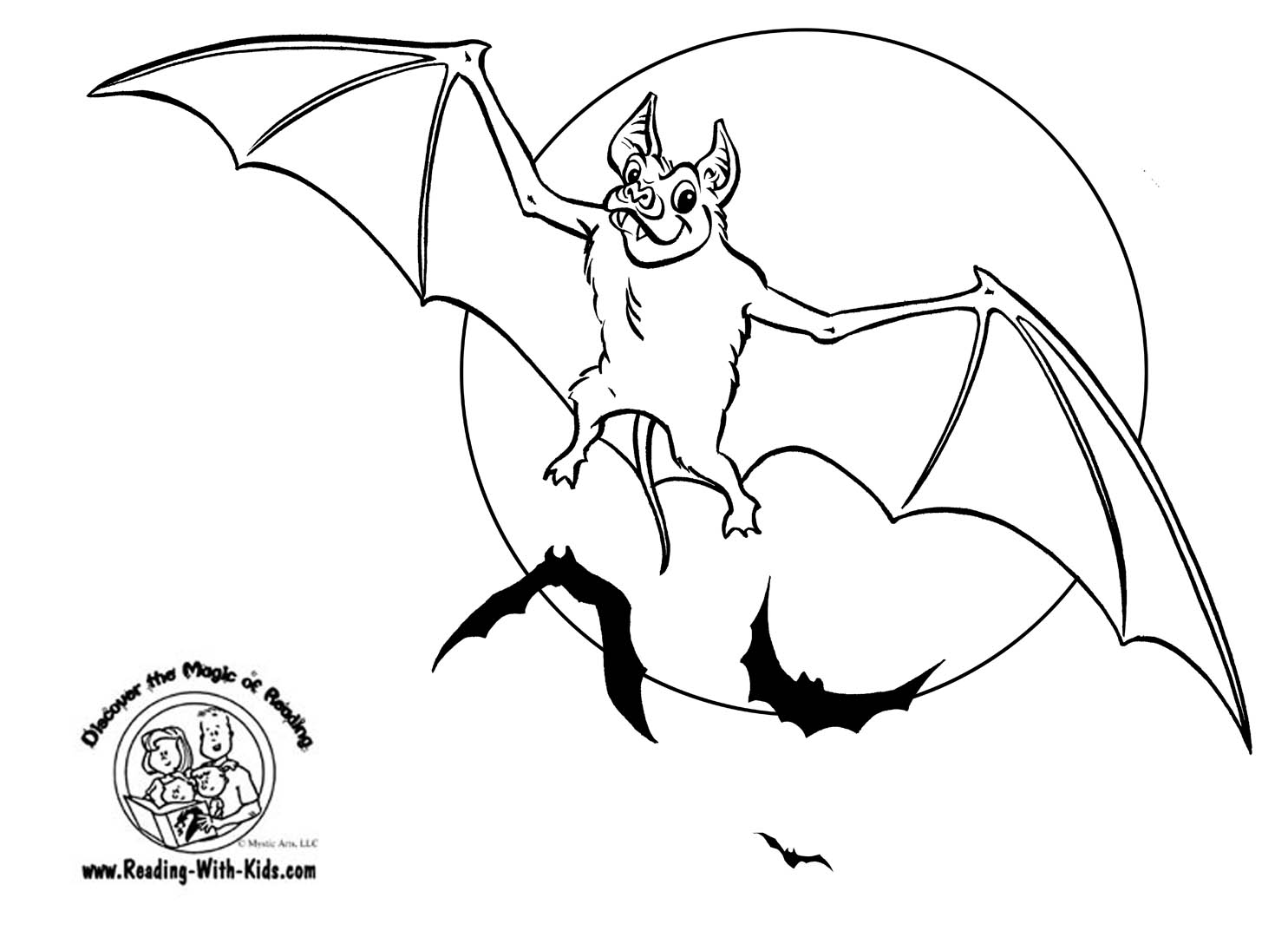 Free coloring pages for reading -  Halloween Bat Coloring Page