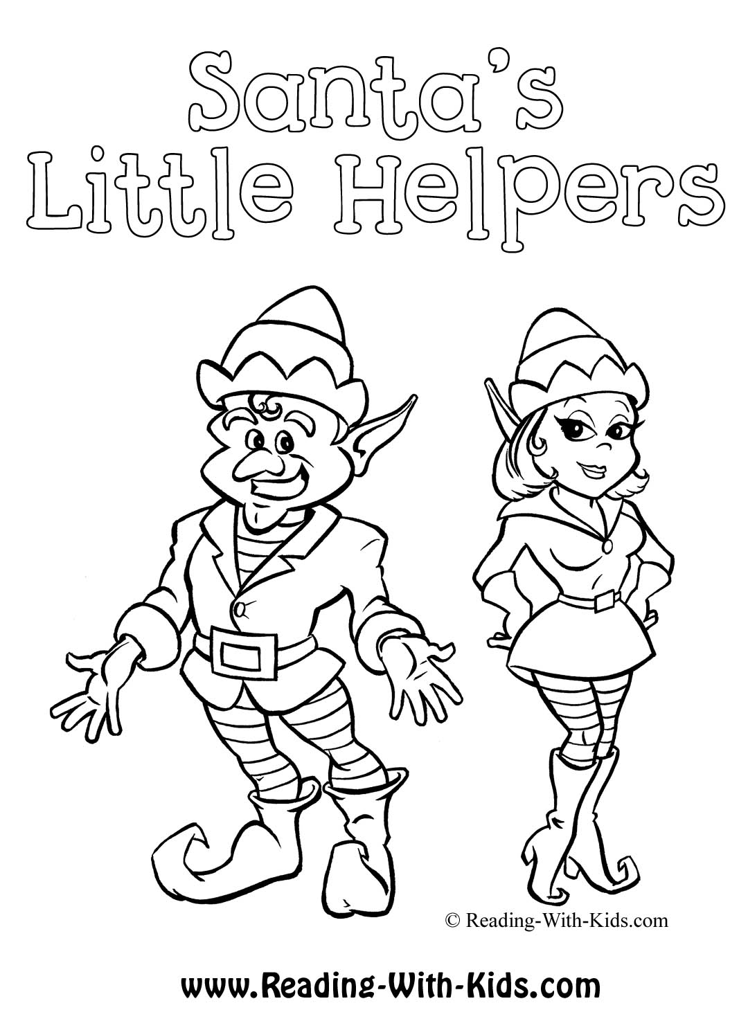 christmas coloring page christmas elves coloring page
