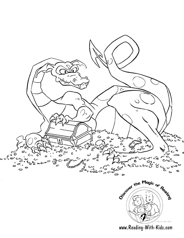 Dragon guarding treasure coloring page