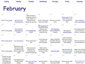 February Reading Calendar