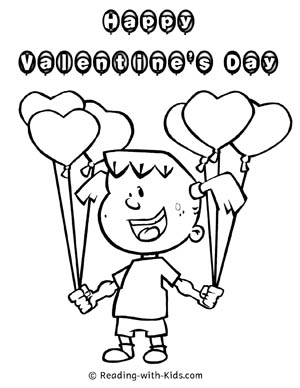 Valentine Balloons Coloring Page