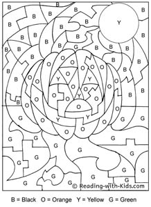 Halloween Color By Letter Jack-o-Lantern coloring page