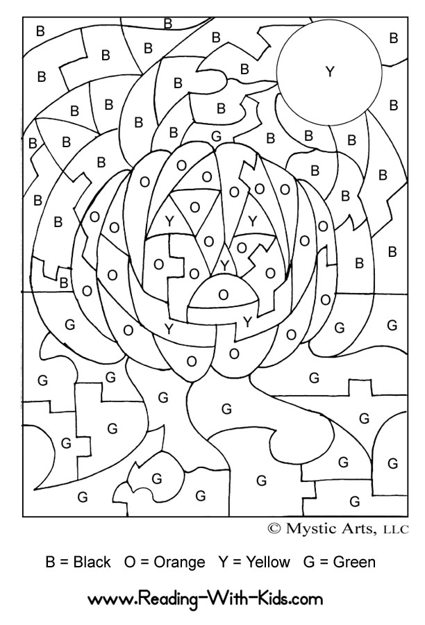 Halloween color by letter jack o lantern coloring page