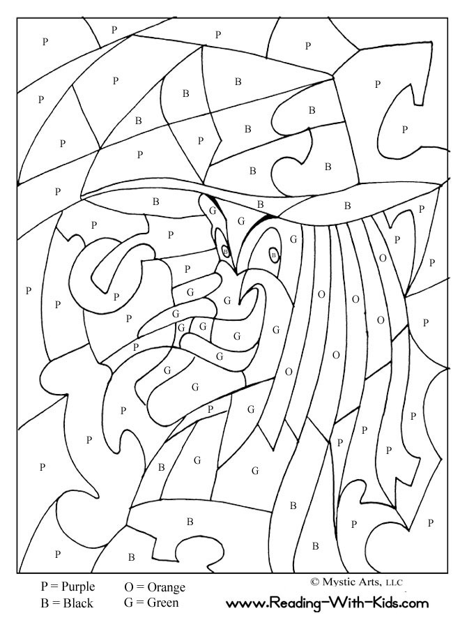 halloween color by letter witch coloring page - Halloween Activities To Print