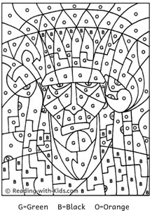 Halloween Color By Letter Frankenstein coloring page