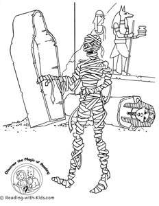 Halloween mummy coloring page