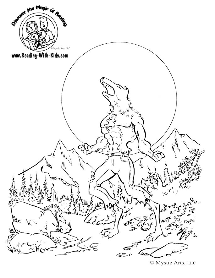 Haunted House Coloring Page Halloween Wolfman Werewolf