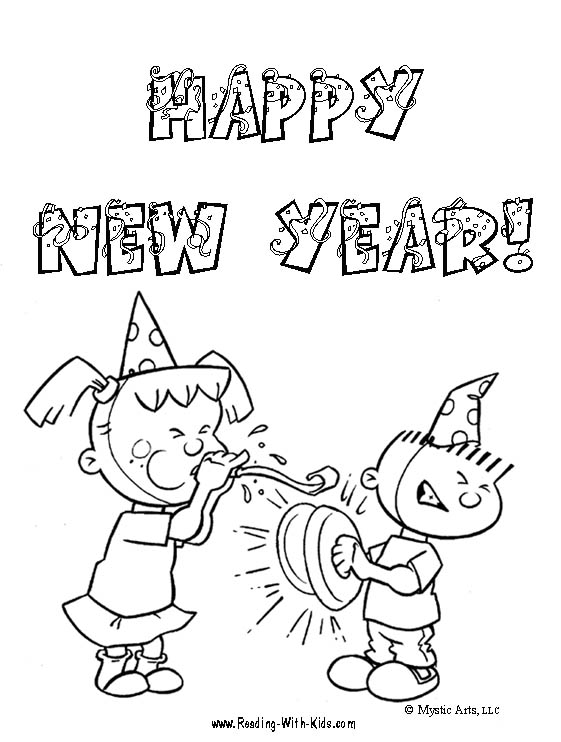 New Year's Coloring Page: