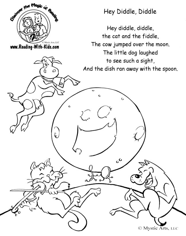 Nursery Rhyme Coloring Pages Pdf : Free coloring pages of hey diddle