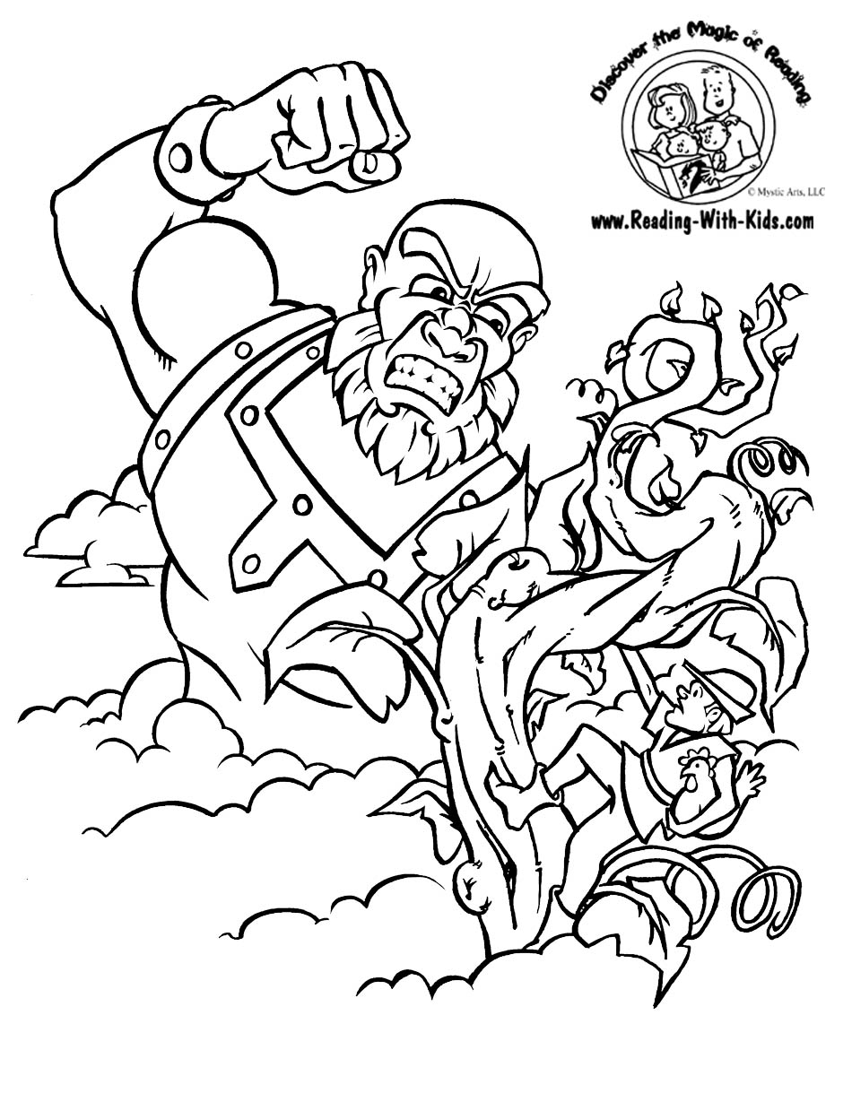 Free coloring pages for reading -  Jack And The Beanstalk Fairy Tale Coloring Page