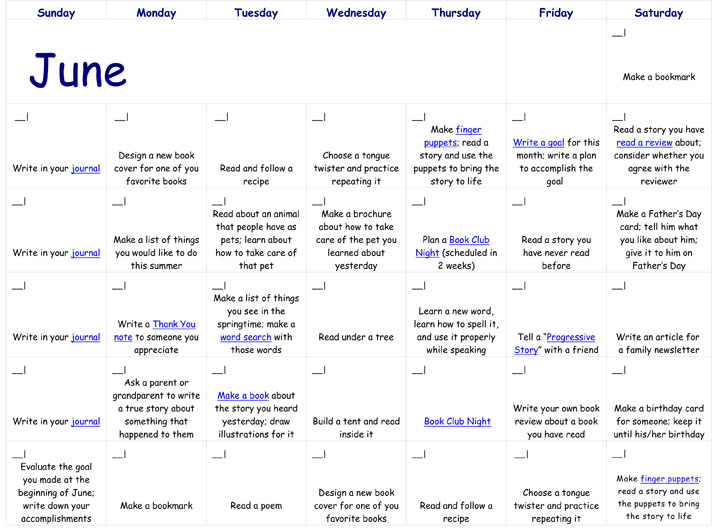 June Calendar Girl Read : Reading calendar