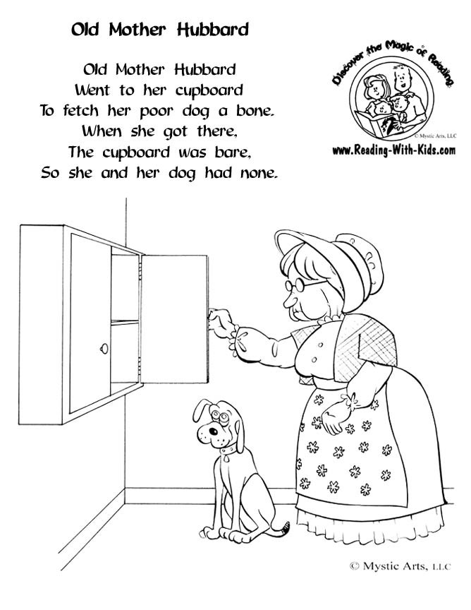 Old Mother Hubbard coloring page