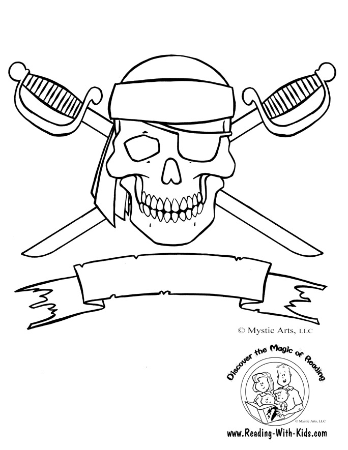 Skull and Crossbones Coloring Page