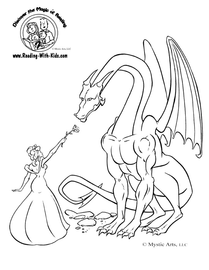 princess dragon coloring page
