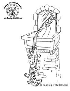 Rapunzel fairy tale coloring page