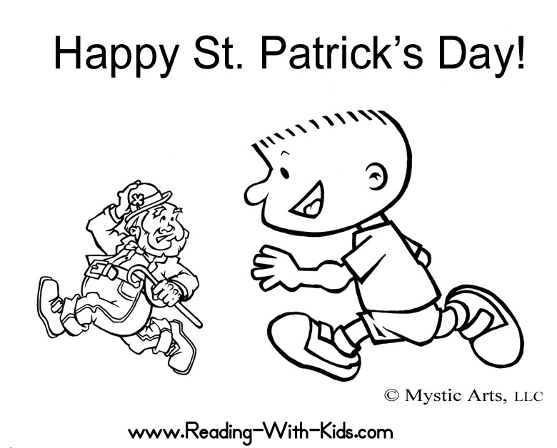 Boy Running After A Leprechaun Coloring Page