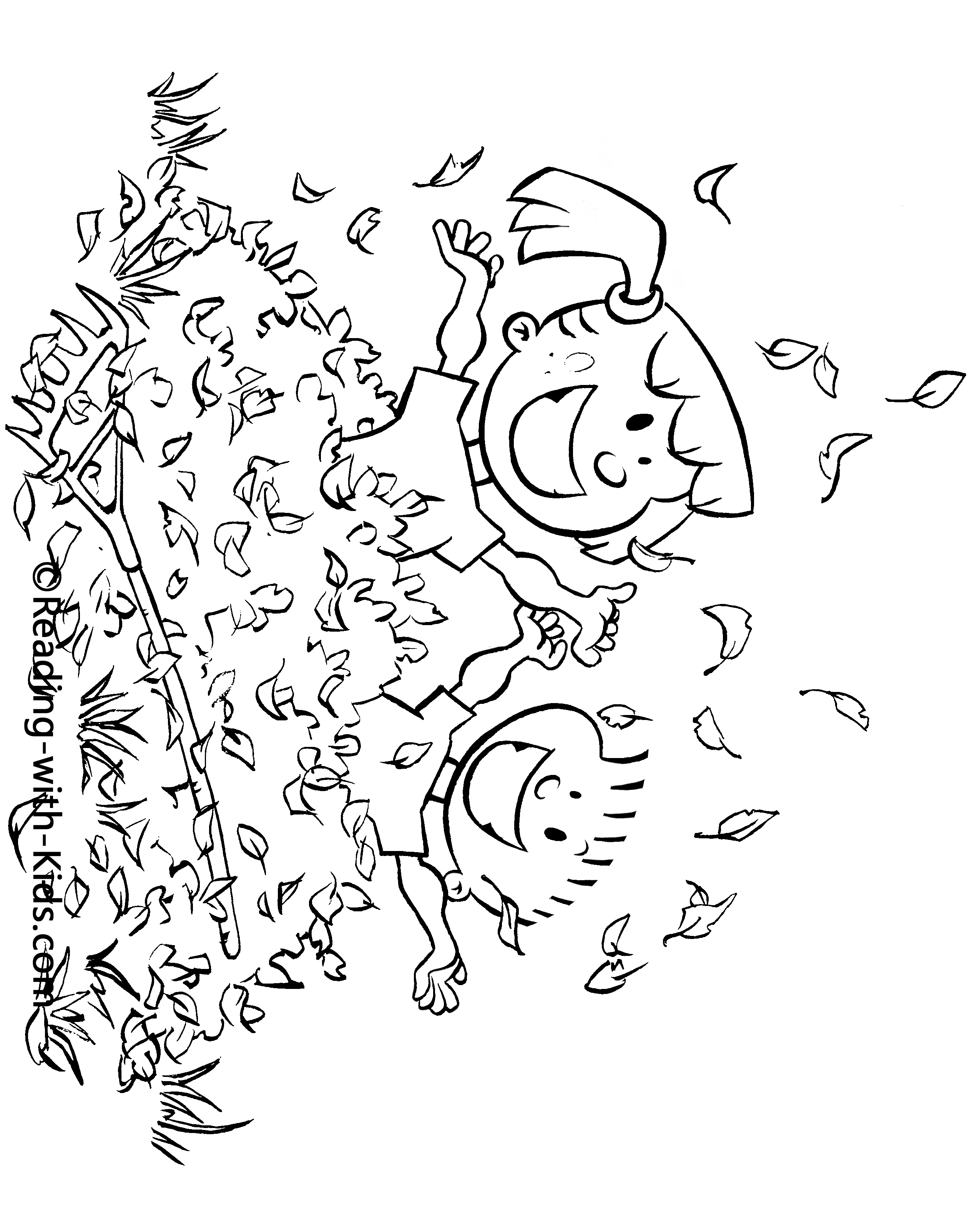 Book reading coloring page -  Fall Leaves Coloring Page