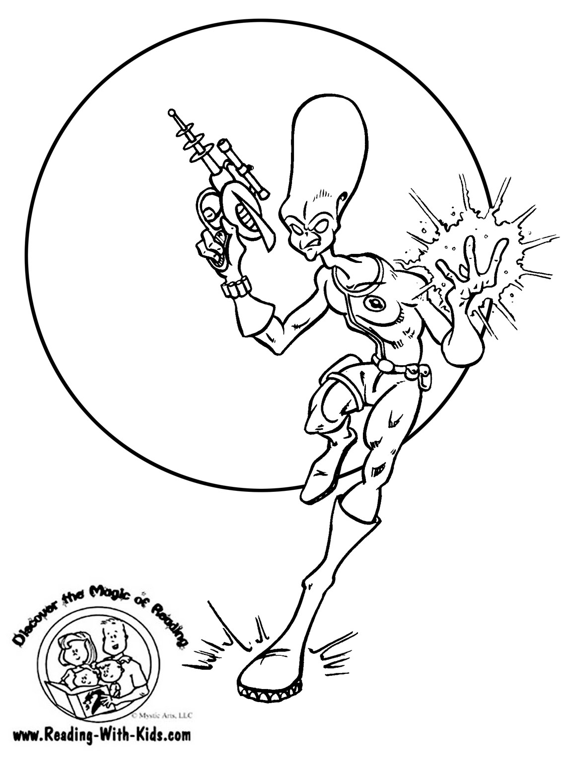 Book reading coloring page -  Space Alien Coloring Page