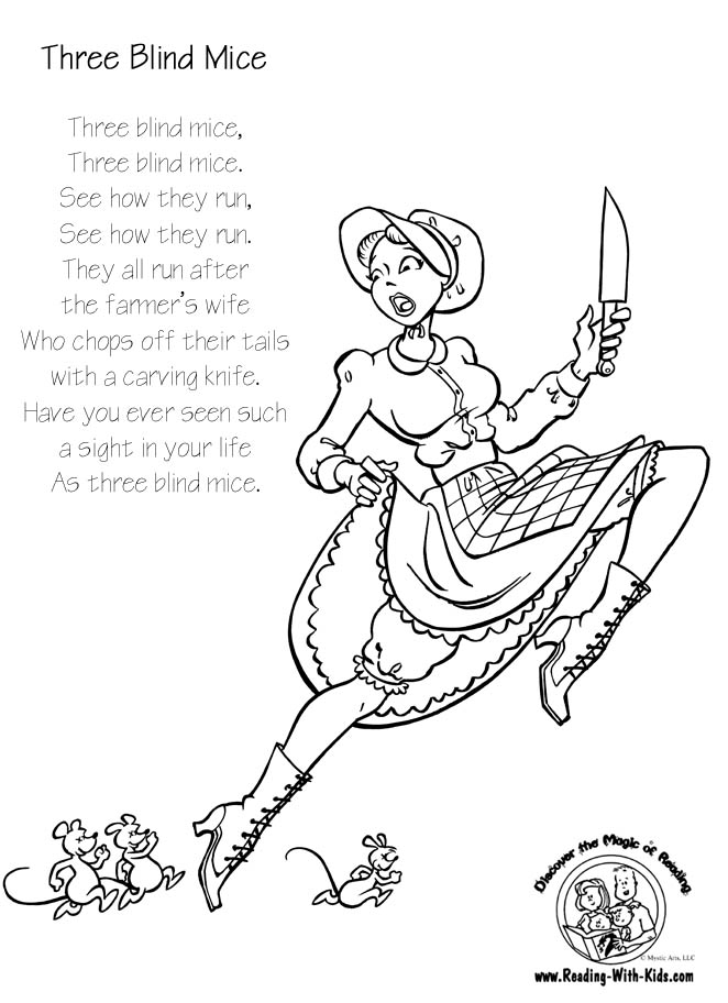 Three Blind Mice coloring page
