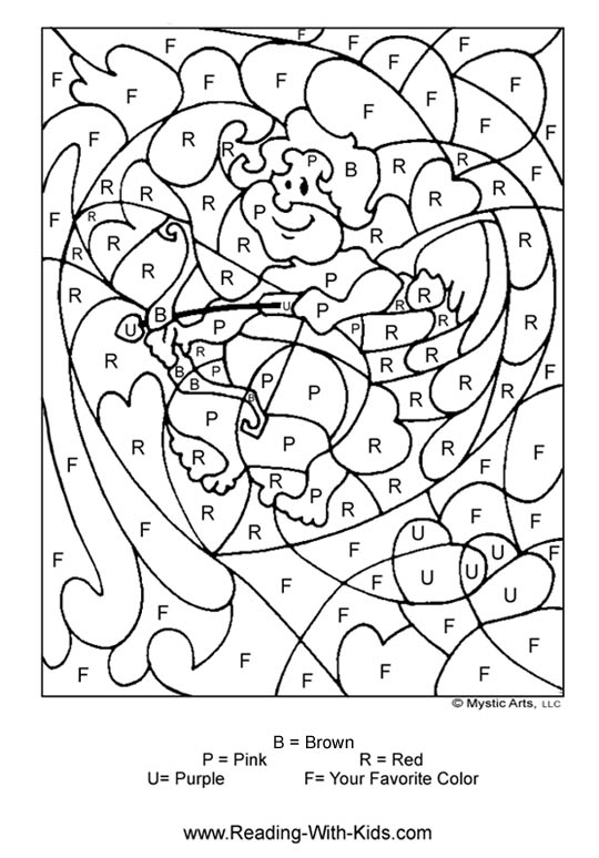 valentine color by letter valentines coloring pages